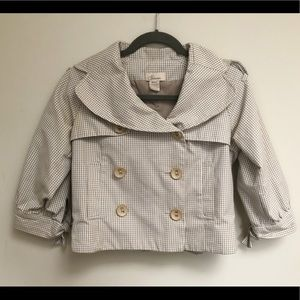 Beige Gingham Checked Cropped Trench Coat Jacket